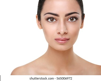 Beautiful indian girl with perfect skin make up closeup. Beauty and health care. Ideal closeup portrait of brunette, isolated on white background