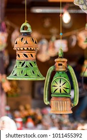 Beautiful Indian handicrafts meant for decoration for sale at a shop.