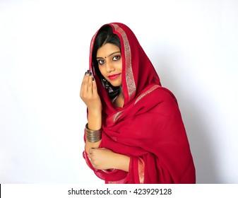 Beautiful Indian muslim girl in traditional Indian salwar shuit.