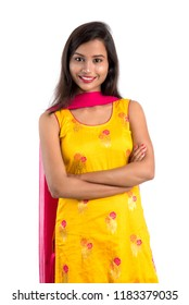 Beautiful Indian traditional girl posing on white background.