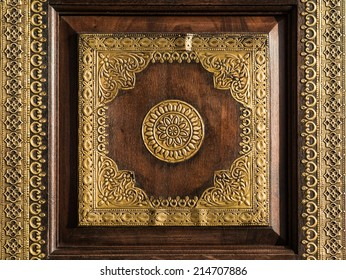 Beautiful Indian traditional interior and exterior ornament pattern made of gold and wood.