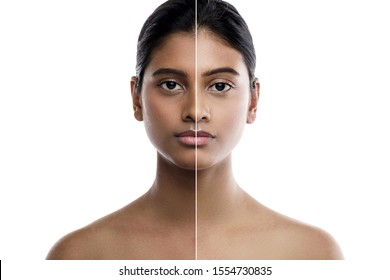 Beautiful Indian woman and result of skin whitening treatment