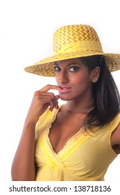 Beautiful Indian woman with yellow hat