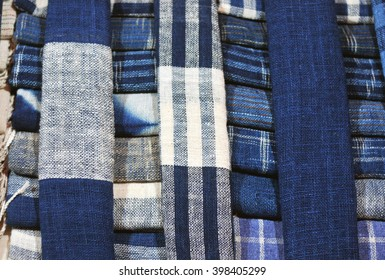 beautiful indigo blue scarfes for the at the market
