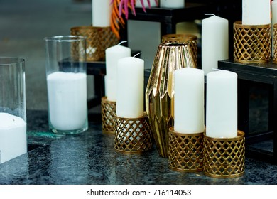 beautiful Indonesian carved candle holders with candles. Warm and beautiful