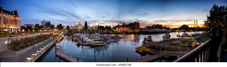 Beautiful inner harbour of Victoria in Autumn twilight panorama  Photo taken on 2016.09.25 at Victoria BC Canada