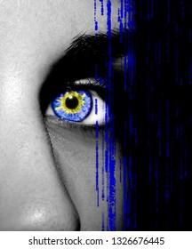 Beautiful insightful look blue woman eye. Close-up.