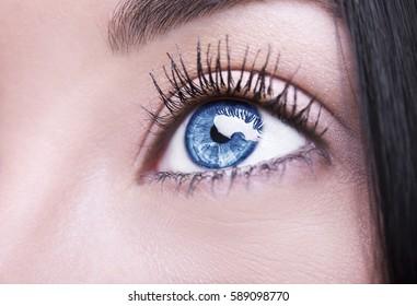 A beautiful insightful look blue woman's eye