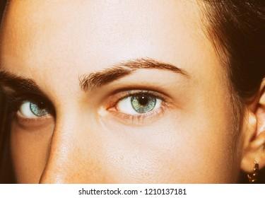 A beautiful insightful look girl's eye. Close up shot