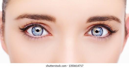 A beautiful insightful look woman eye. Close up shot