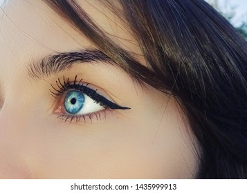 A beautiful insightful look woman eye. Close up shot