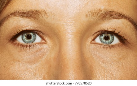 A beautiful insightful look woman's eyes. Close up shot