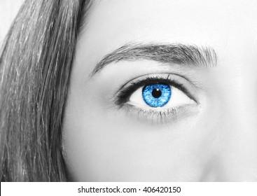 Beautiful insightful look women's  blue eyes