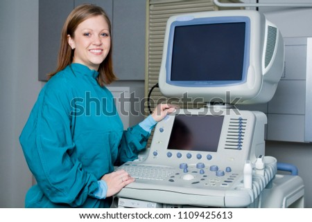 Beautiful Intelligent Ultrasound Technician