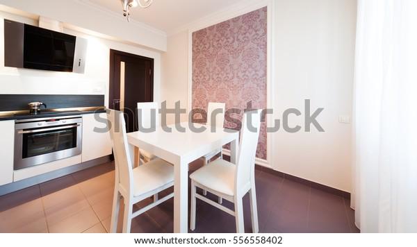 Beautiful Interior Apartment Kitchen Classic Style Stockfoto ...