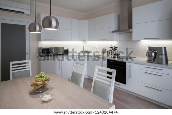 Beautiful Interior Apartment Kitchen Modern Style Stock ...