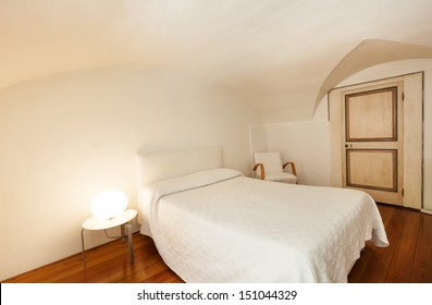 beautiful interior of hotel, apartment with double bed