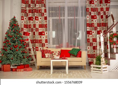 Beautiful interior of living room decorated for Christmas