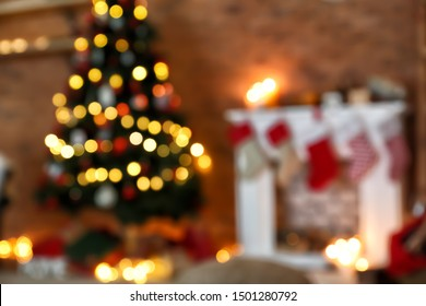 Beautiful interior of room decorated for Christmas, blurred view