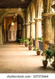 Beautiful interior of a spanish era convent in Havana