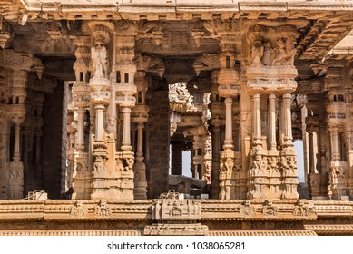 Beautiful intricate architecture made of stone carvings at Vittala templein Hampi. These ruins are from the Hindu Vijayanagara empire which existed in the 14th century are are currently a world herita