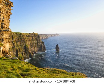 beautiful Irish nature countryside landscape from the cliffs of moher in county clare Ireland. scenic sunset along the wild Atlantic way.