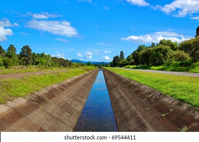 beautiful irrigation canal on clear sky