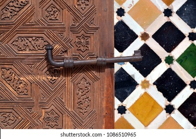 Beautiful Islamic ornaments in Alhambra Palace (13th century AD) in Granada, Spain