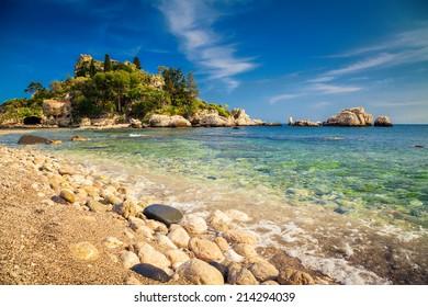 beautiful island and beach Isola Bella at Taormina at Sicily, Italy