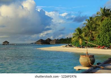 Beautiful island beach view , Maldives