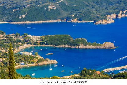 Beautiful island of Corfu, heart-shaped Paleokastritsa bay with charming and wonderful panoramic views in Greece ( Kerkyra)