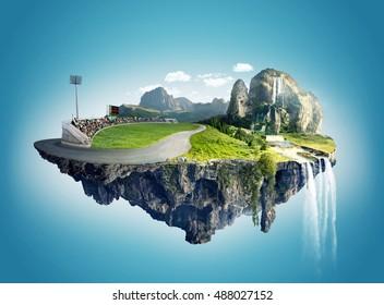 Beautiful island floating on sky