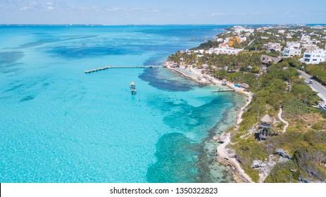Beautiful island Isla Mujeres, Punta Sur. Aerial View