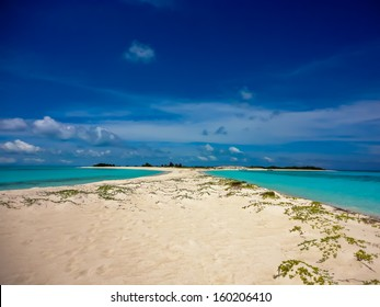 Beautiful island with an isthmus and beach on both sides in the archipelago of Los Roques, Caribbean