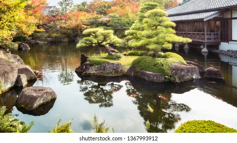 Beautiful island at the lake with back-lit pine trees at Koko-en Gardens, a classic Edo Style Japanese Garden in Himeji, Japan.