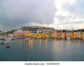 beautiful island of Procida Campania region near Naples. Italy. Magic colorful houses
