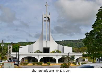 The beautiful island of Saipan. Church on the island of Saipan.