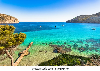 Beautiful island scenery, seascape Majorca Spain, idyllic bay seaside of Camp de Mar, Mediterranean Sea, Balearic Islands.