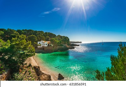 Beautiful island scenery, seascape Majorca Spain, idyllic bay beach of Cala Gat in Cala Ratjada, Mediterranean Sea.