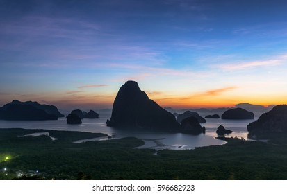 Beautiful island with sunrise. This is unseen place of the southern sea in Thailand.