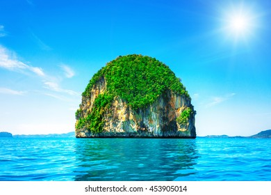Beautiful island in Thailand. Unnamed island in the sea. Holiday and vacation concept