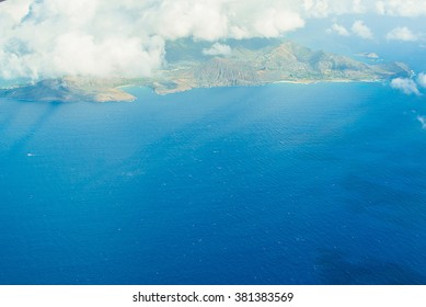Beautiful island view in the ocean from the airplane
