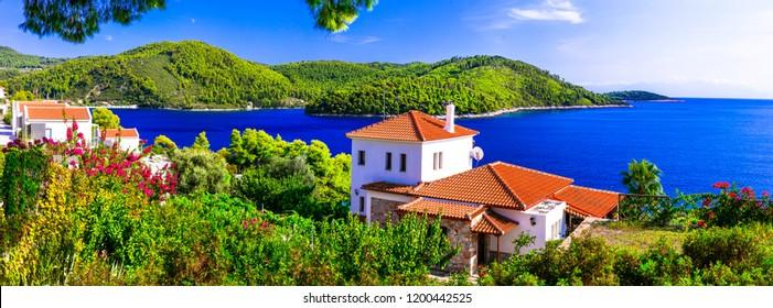 Beautiful islands of Greece - Skopelos with stunning Panormos bay. Northen Sporades