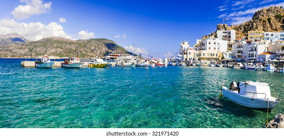 beautiful islans of Greece - Karpathos with pictorial capital Pigadia