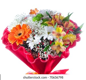 Beautiful isolated bouquet of flowers over white background