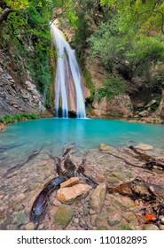 Beautiful, isolated waterfall in Neda River Messinia, Greece