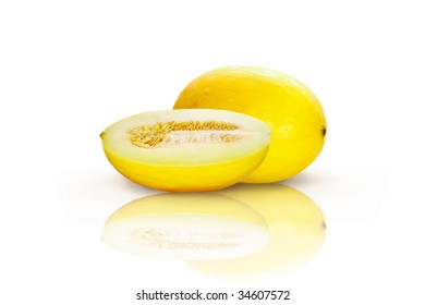 Beautiful isolated yellow melon on white background