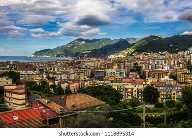 Beautiful Italian city Salerno with beach and mountains