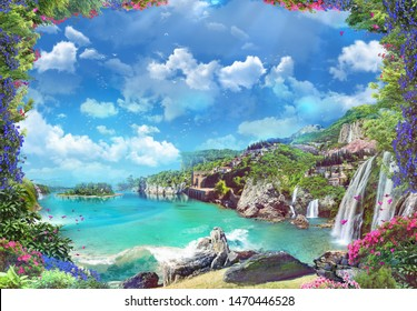 Beautiful Italian coast with waterfalls and red flowers.Digital collage , mural and fresco. Wallpaper. Poster design. Modular panno.