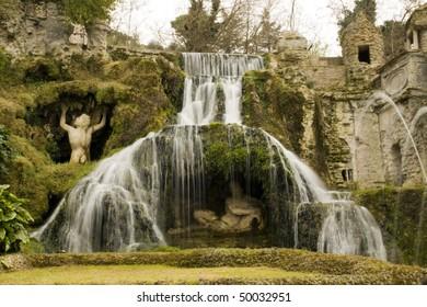 Beautiful italian garden full of fountains and tree